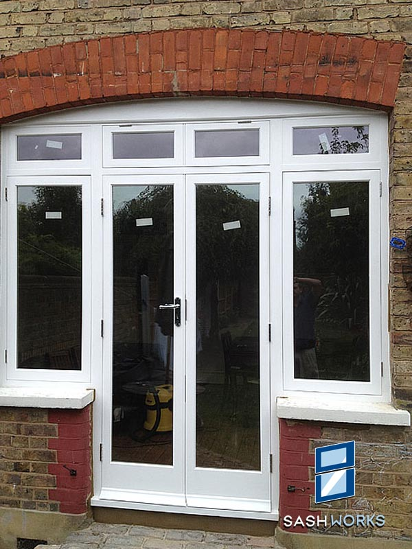 Replacement wooden patio door installation