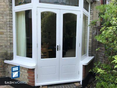 Wooden part glazed patio doors